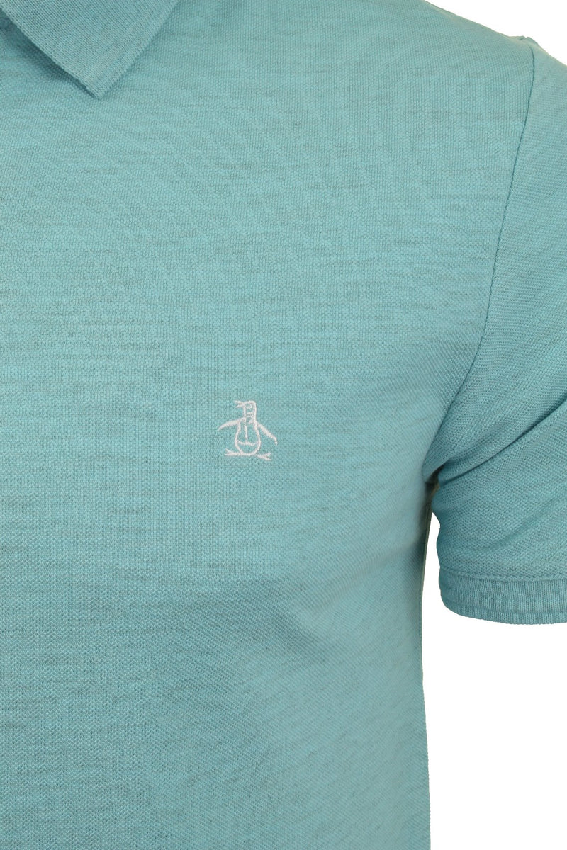 Mens Original Penguin Pique Polo T-Shirt - Short Sleeved, 02, Opkb0557, #colour_Blue Topaz Heather