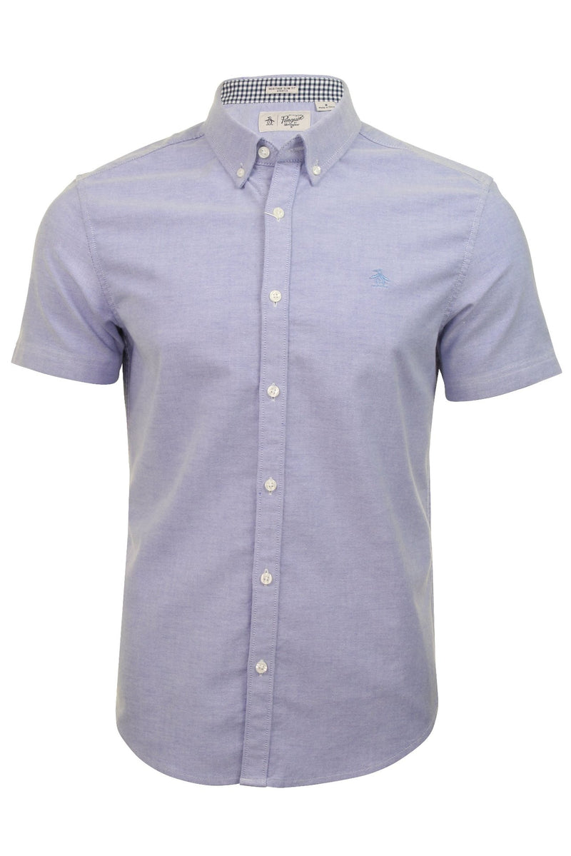 Original Penguin Mens Stretch Oxford Shirt - Short Sleeved, 01, Opwb0006, #colour_Amparo Blue