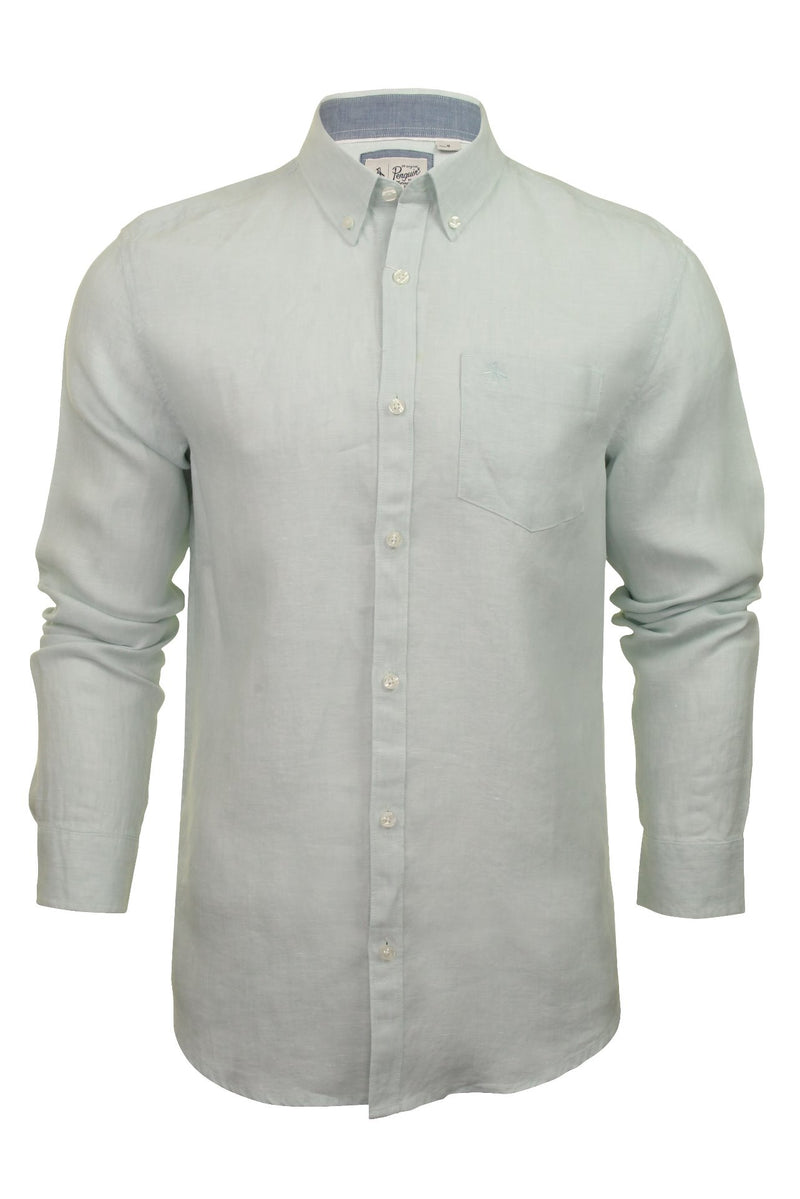 Original Penguin Mens Linen Shirt - Long Sleeved, 01, Opws9020, #colour_Pastel Blue