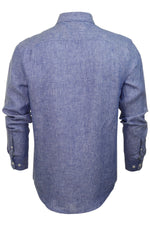Original Penguin Mens Linen Shirt - Long Sleeved, 03, Opws9020, #colour_Surf The Web