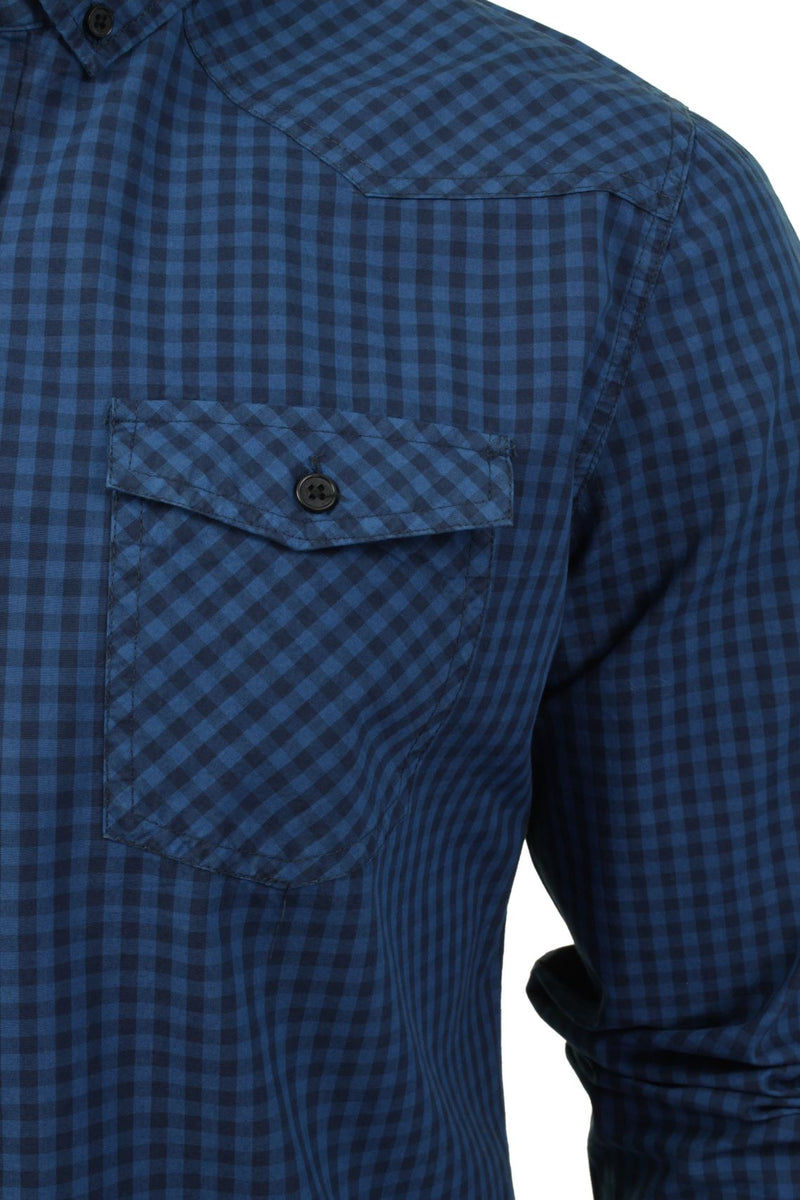 Mens Check Shirt by Smith & Jones 'Porticus' Long Sleeved, 02, Porticus, #colour_Blue Sapphire