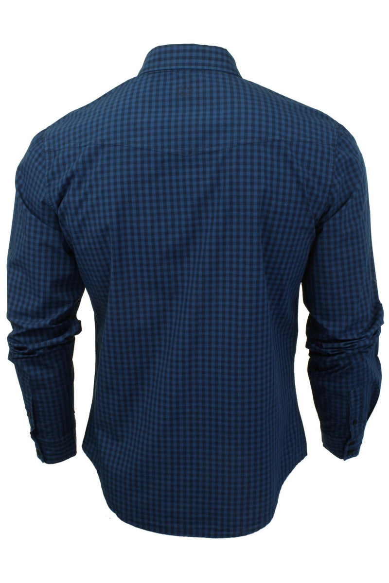 Mens Check Shirt by Smith & Jones 'Porticus' Long Sleeved, 03, Porticus, #colour_Blue Sapphire