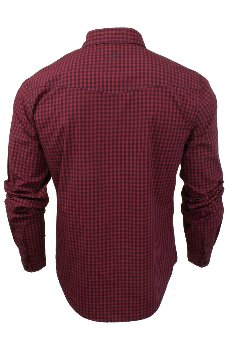 Mens Check Shirt by Smith & Jones 'Porticus' Long Sleeved, 03, Porticus, #colour_Cordovan Red