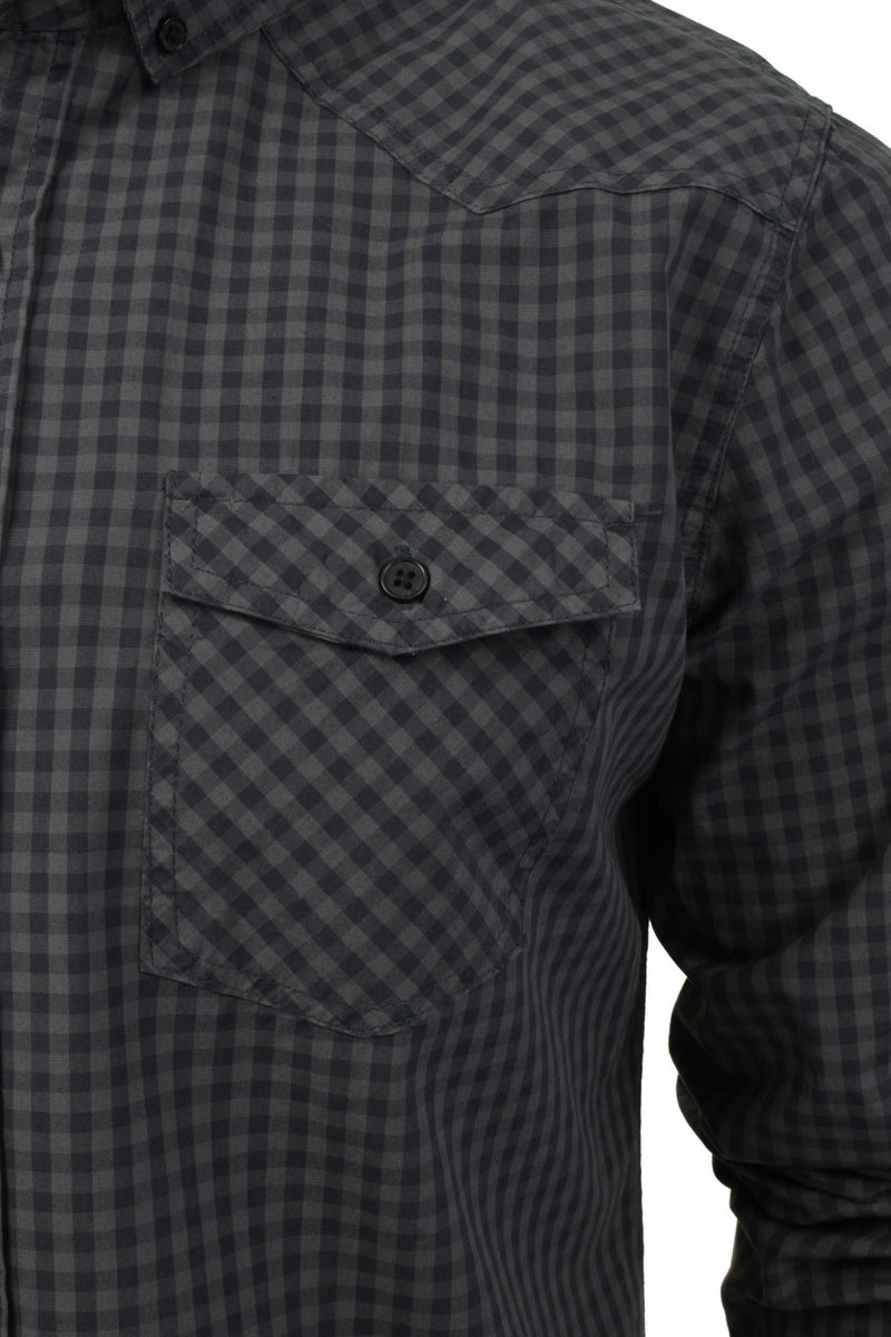 Mens Check Shirt by Smith & Jones 'Porticus' Long Sleeved, 02, Porticus, #colour_Steel Grey