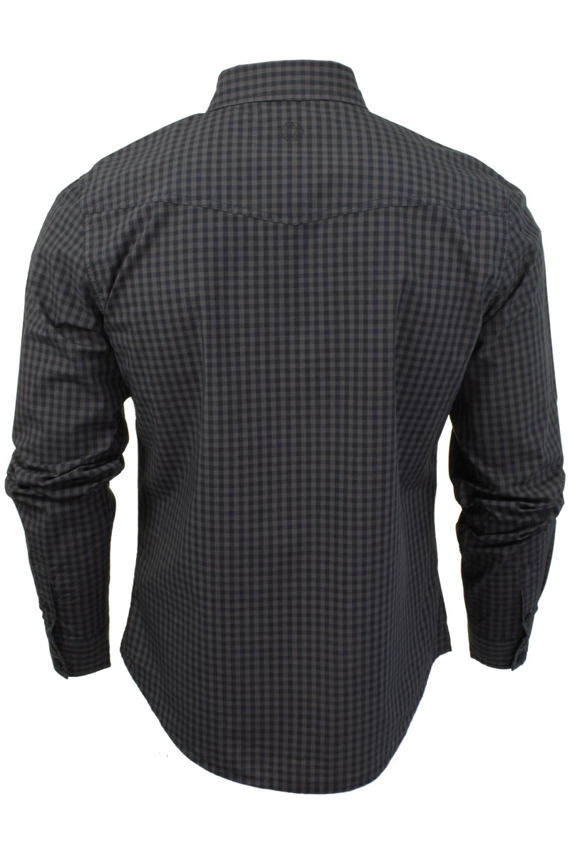 Mens Check Shirt by Smith & Jones 'Porticus' Long Sleeved, 03, Porticus, #colour_Steel Grey