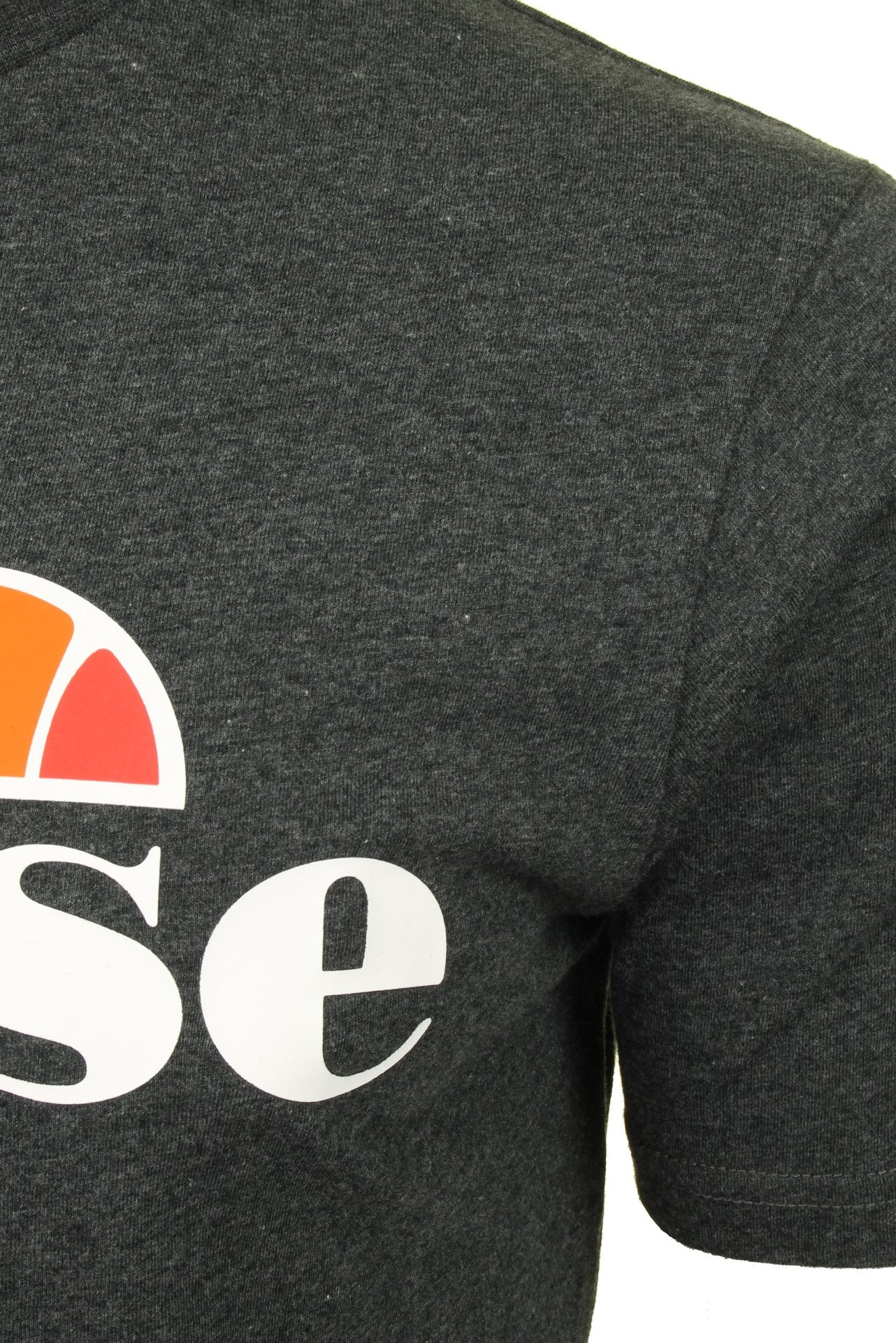 Ellesse Mens Logo Front Crew Neck T-Shirt 'PRADO' - Short Sleeved_02_Shc07405_Dark Grey Marl