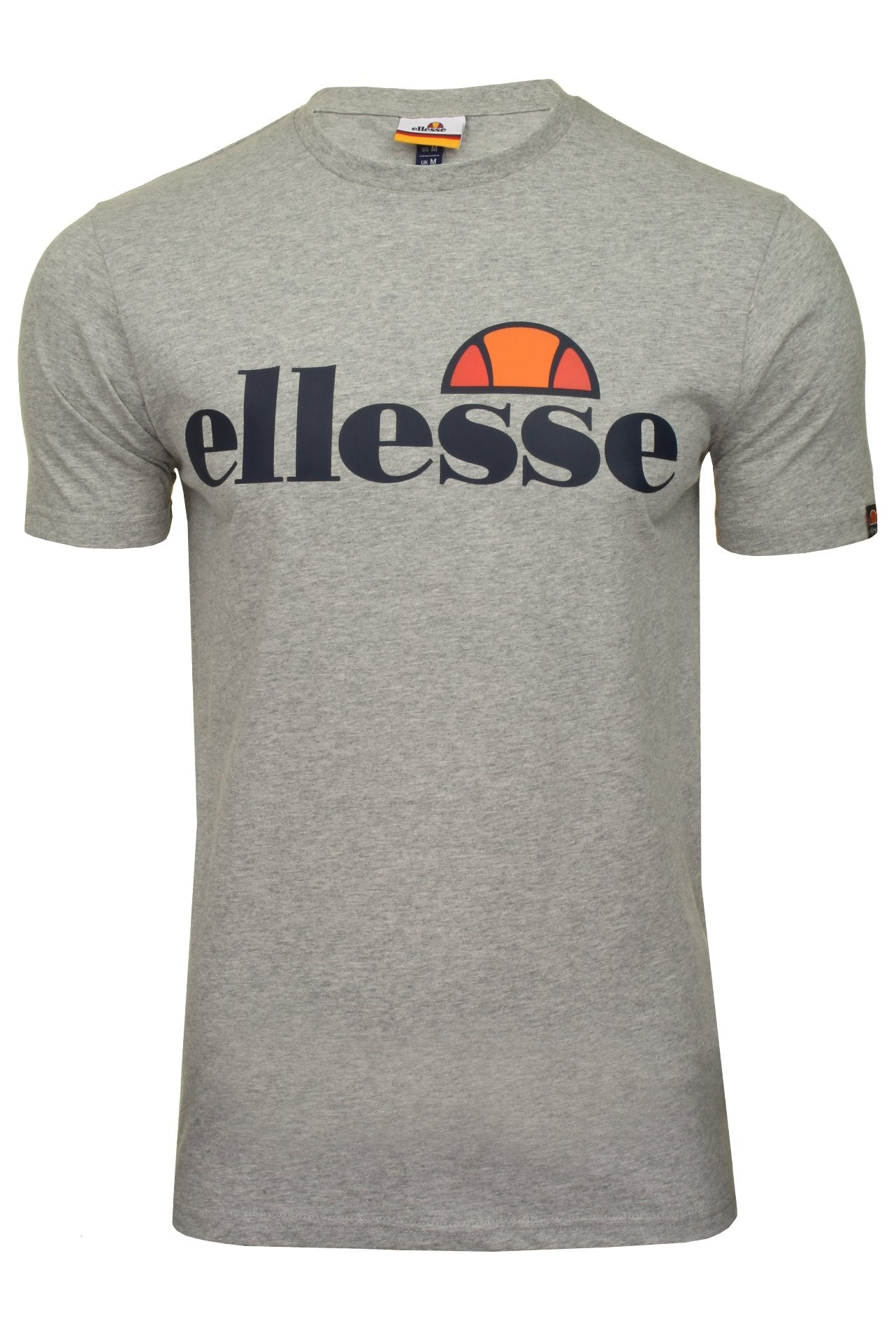 Ellesse Mens Logo Front Crew Neck T-Shirt 'PRADO' - Short Sleeved_01_Shc07405_Grey Marl