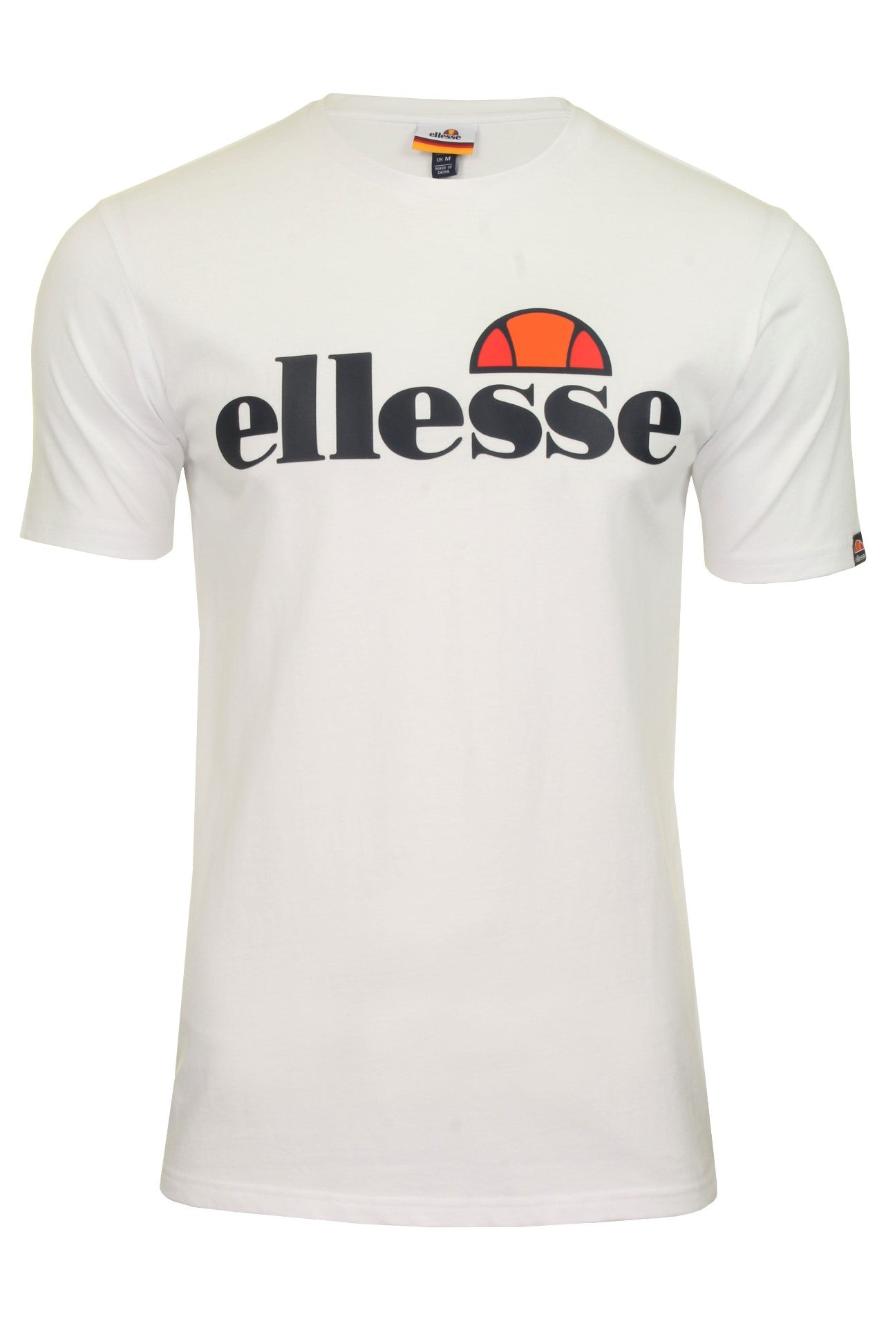 Ellesse Mens Logo Front Crew Neck T-Shirt 'PRADO' - Short Sleeved_01_Shc07405_White