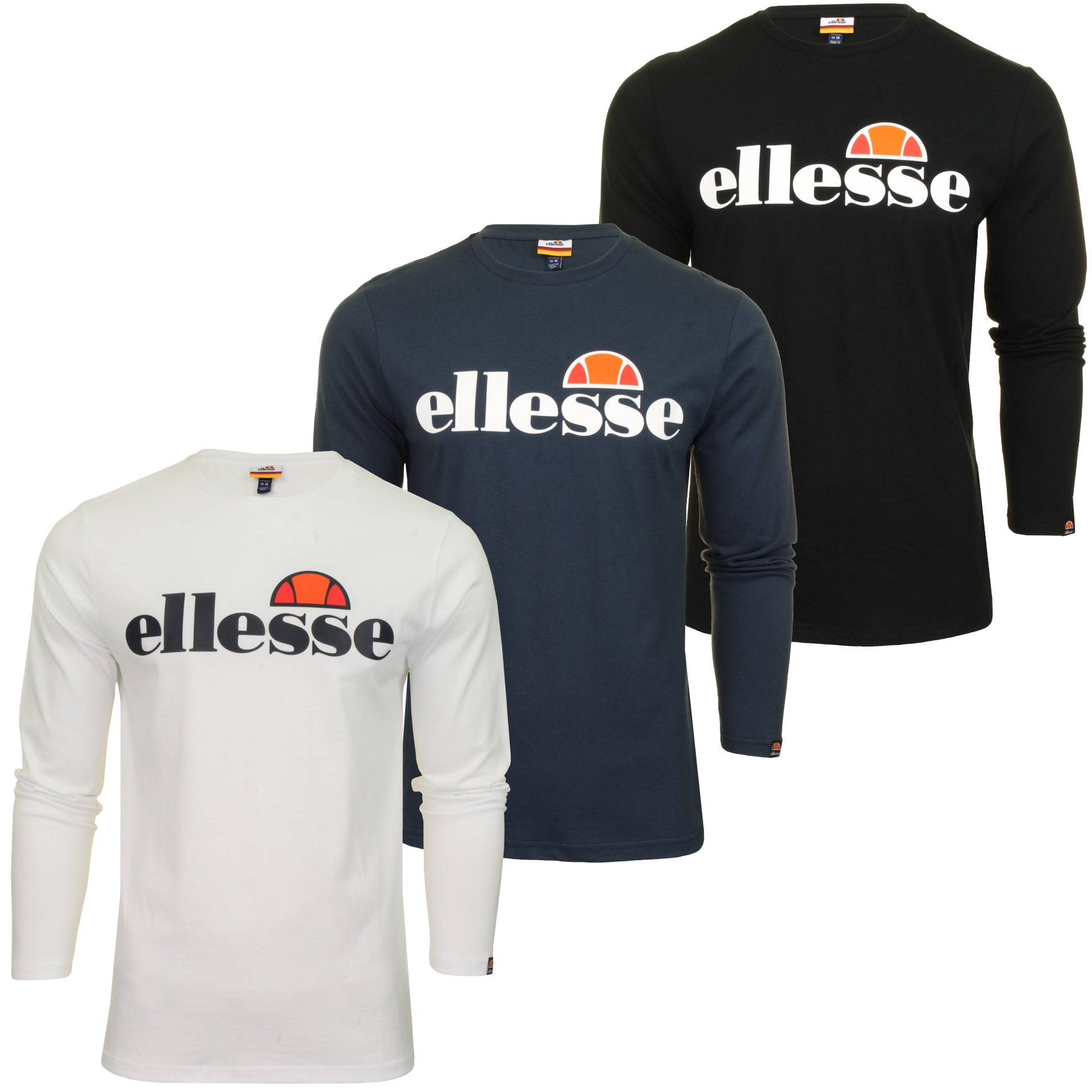 Ellesse Mens Logo Front Crew Neck T-Shirt 'GRAZIE' - Long Sleeved-Main Image