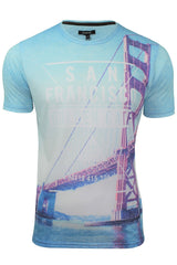 Firetrap Mens T-Shirt  'Sunny Tee' USA City Print-Main Image
