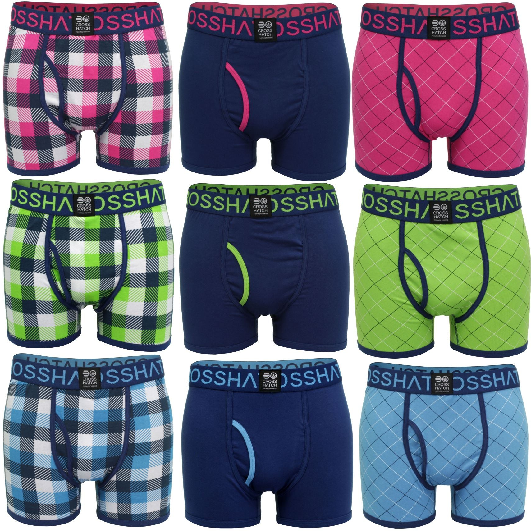 Mens Boxer Shorts Xplicit Crosshatch 3 Pack Underwear Trunks Stretch-Main Image
