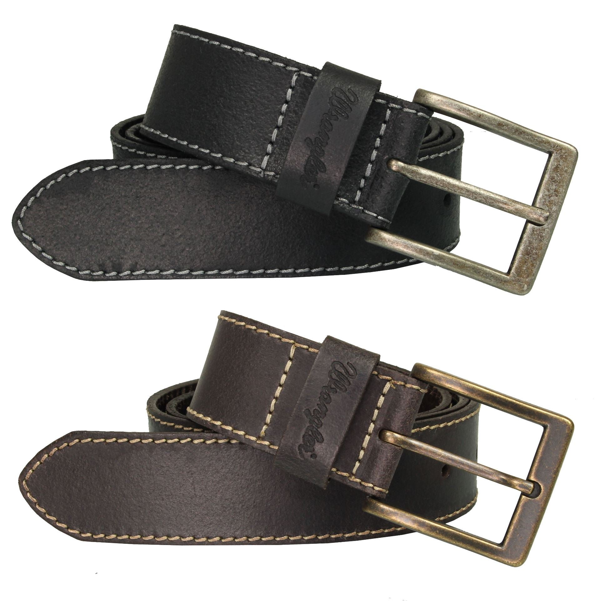 Wrangler Mens 'Stitched' Leather Belt-Main Image