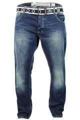 Mens Crosshatch 'Winchester' Jeans Raw Stone Washed Denim Button Fly-Main Image
