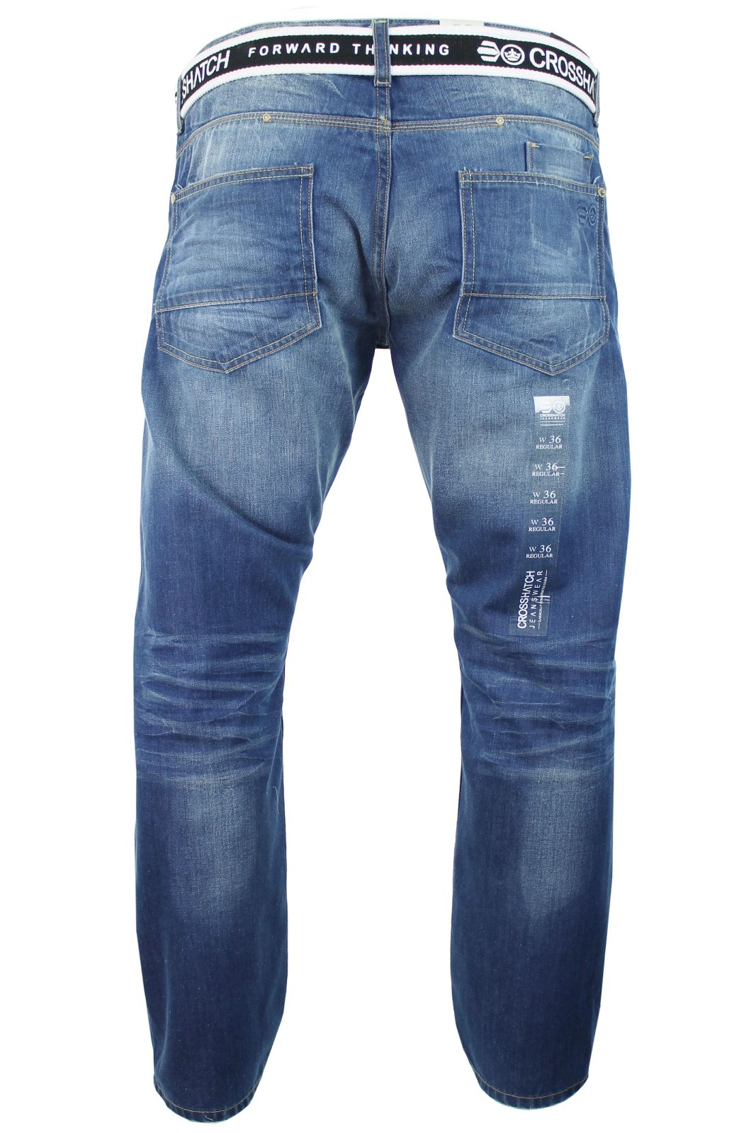 Mens Crosshatch 'Winchester' Jeans Raw Stone Washed Denim Button Fly-2