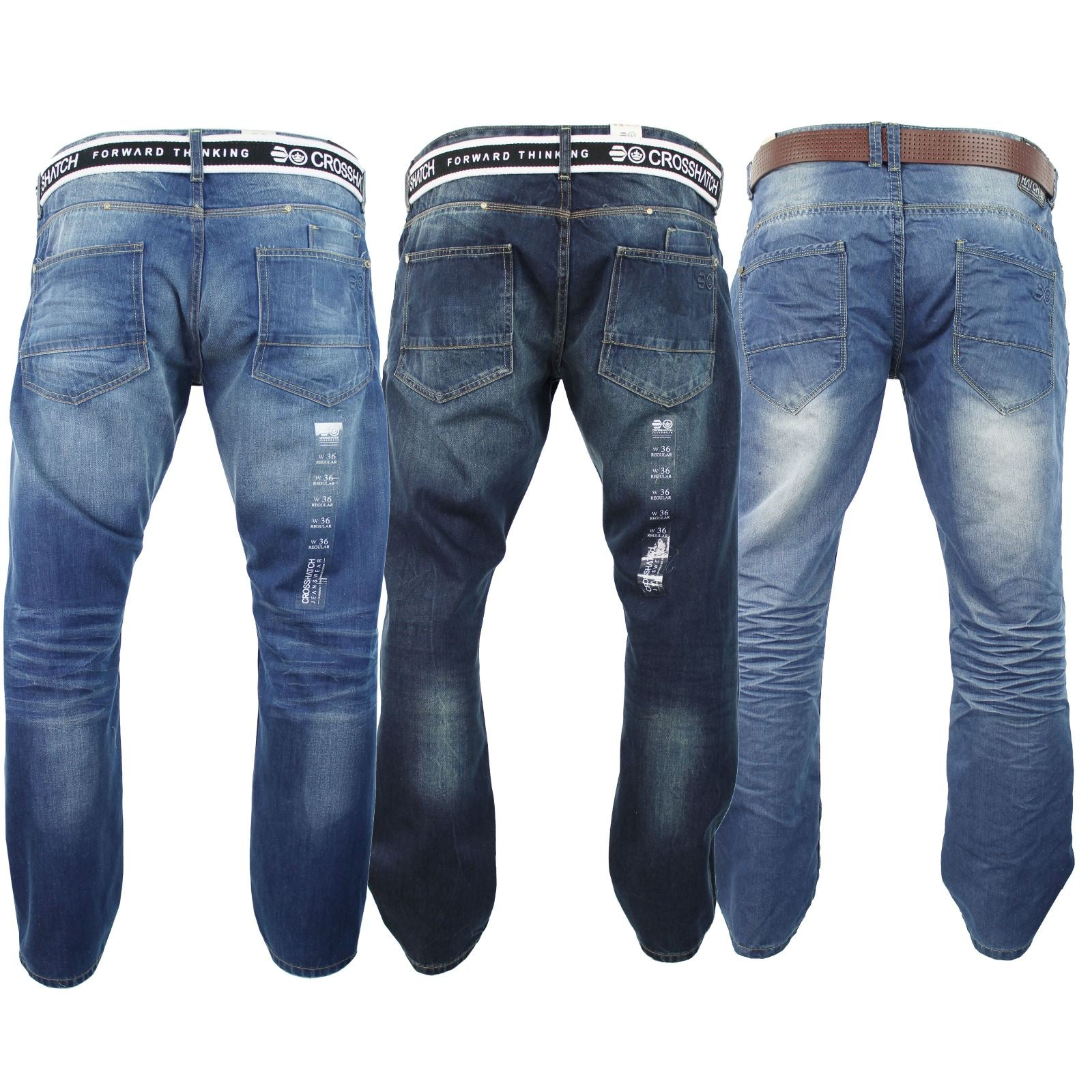 Mens Crosshatch Jeans Raw Stone Washed Denim Button Fly-Main Image