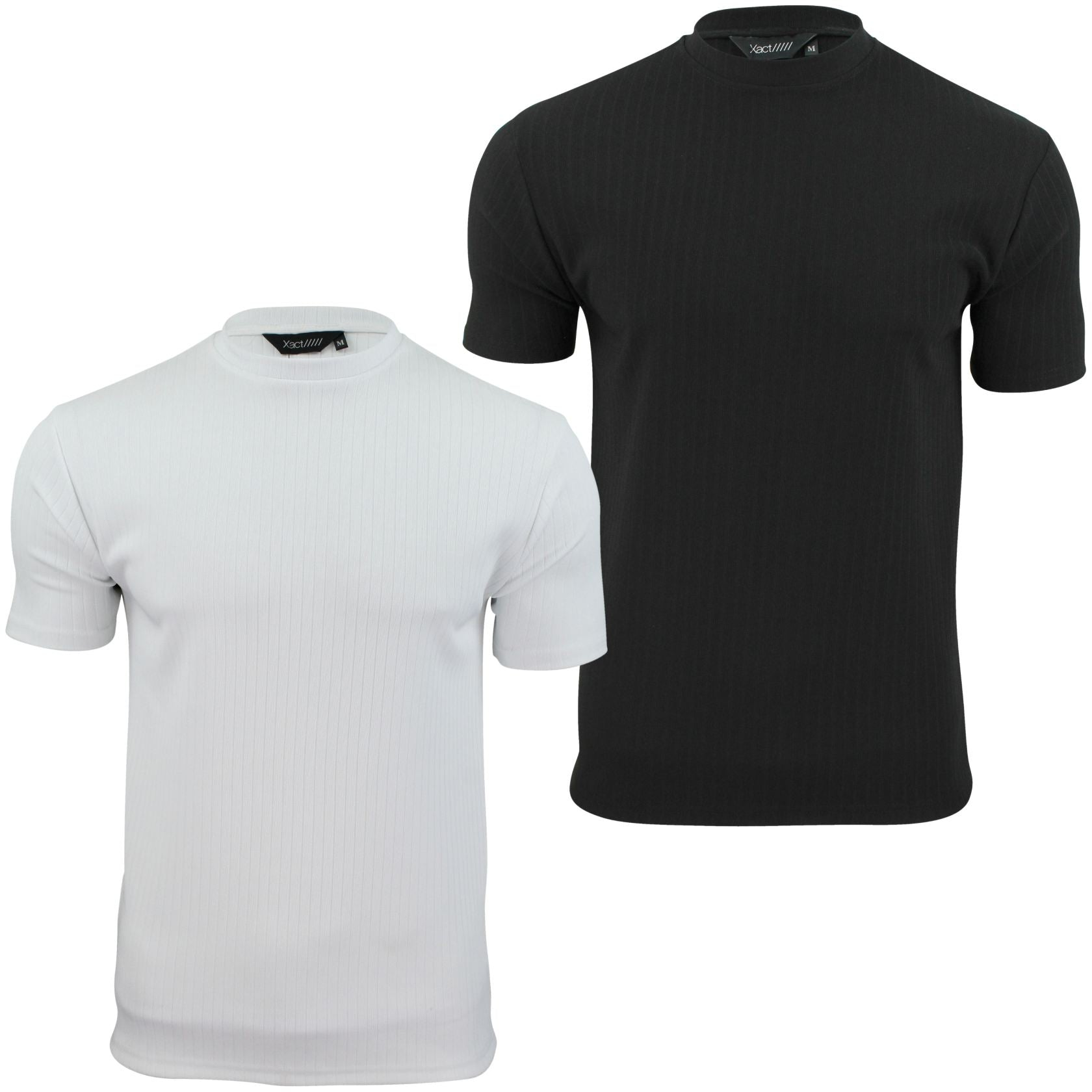 Mens Rib T - Shirt by Xact Clothing Crew Neck Slim Gym Muscle Fit-Main Image