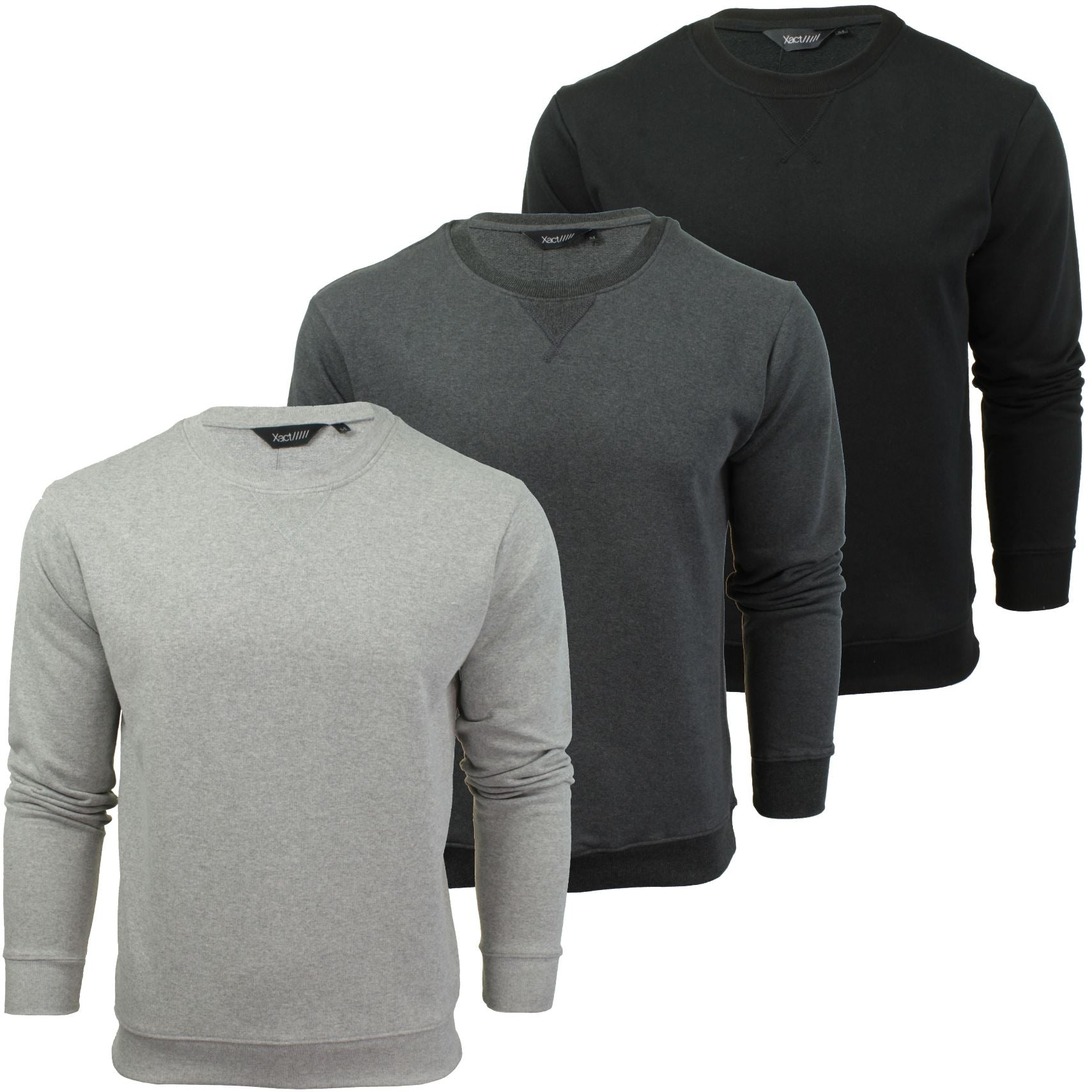 Mens Crew Neck Sweatshirt Jumper by Xact Long Sleeved-Main Image