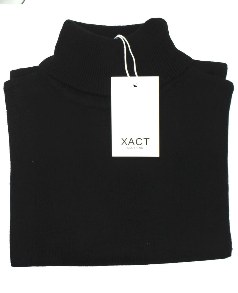 Xact Mens Jumper Roll Neck - polo Neck Jumper Long Sleeved, 03, XK1004, #colour_Black