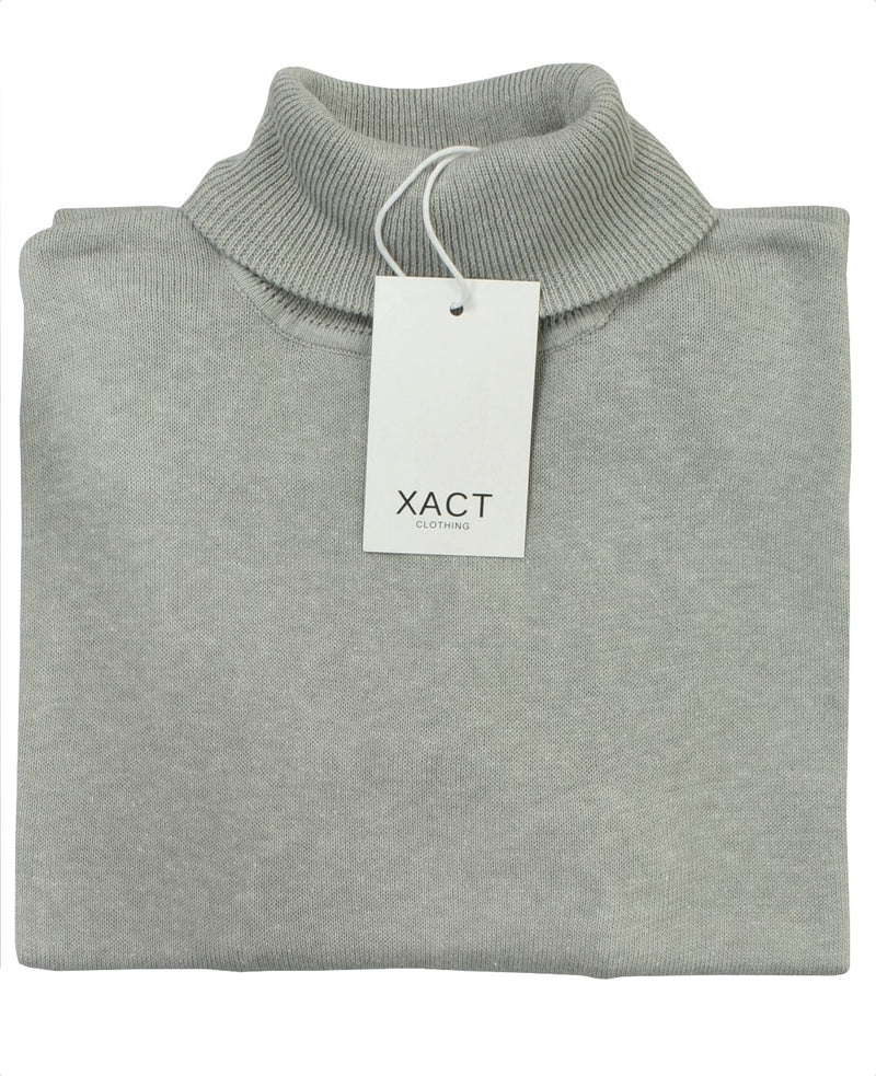 Xact Mens Jumper Roll Neck - polo Neck Jumper Long Sleeved, 03, XK1004, #colour_Heather Grey