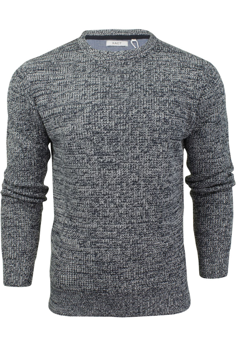 Mens Fashion Jumper Long Sleeved Fleck Crew Neck by Xact, 01, XK1005, #colour_Navy