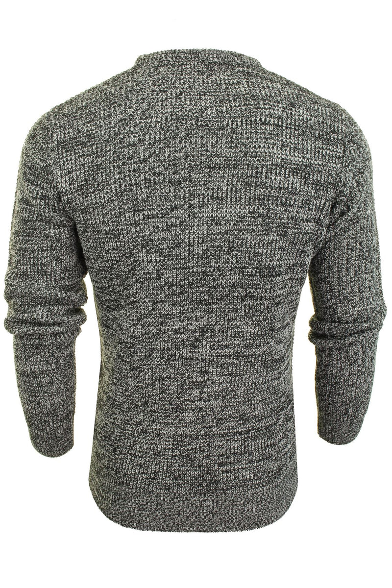 Mens Fashion Jumper Long Sleeved Fleck Crew Neck by Xact, 03, XK1005, #colour_Black
