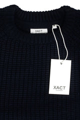 Mens Jumper fashion Chunky Fisherman Knit With Elbow Patches by Xact-4