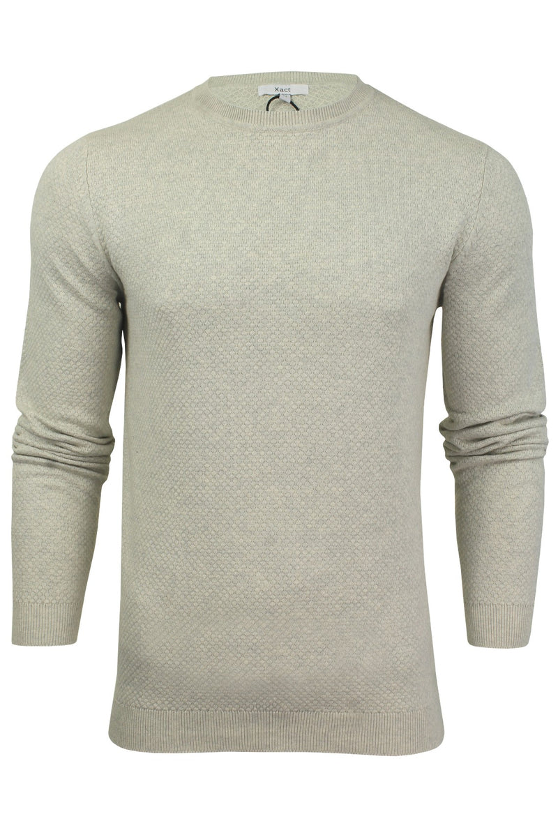 Xact Mens Super Fine Cotton Crew Neck Jumper, 01, XK1013, #colour_Birch Marl