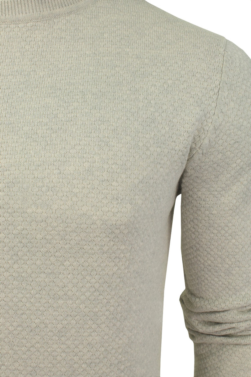 Xact Mens Super Fine Cotton Crew Neck Jumper, 02, XK1013, #colour_Birch Marl