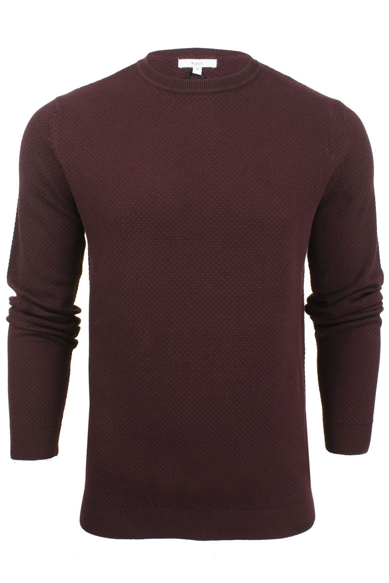 Xact Mens Super Fine Cotton Crew Neck Jumper, 01, XK1013, #colour_Merlot