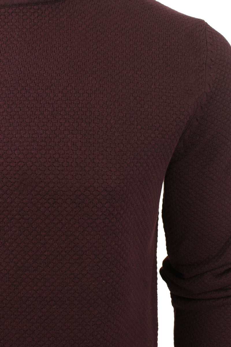 Xact Mens Super Fine Cotton Crew Neck Jumper, 02, XK1013, #colour_Merlot