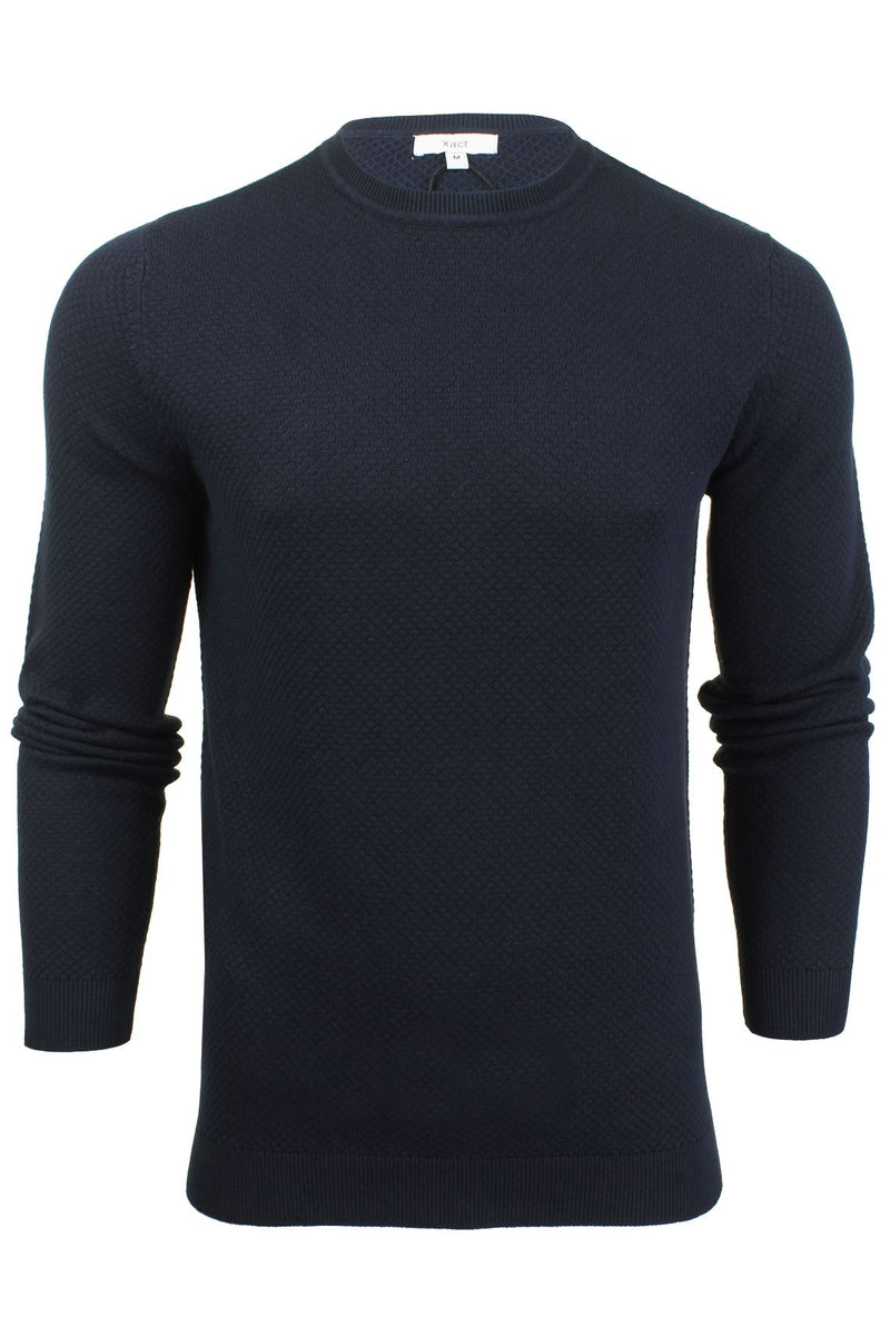 Xact Mens Super Fine Cotton Crew Neck Jumper, 01, XK1013, #colour_Rich Navy