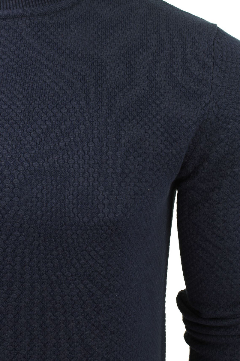Xact Mens Super Fine Cotton Crew Neck Jumper, 02, XK1013, #colour_Rich Navy