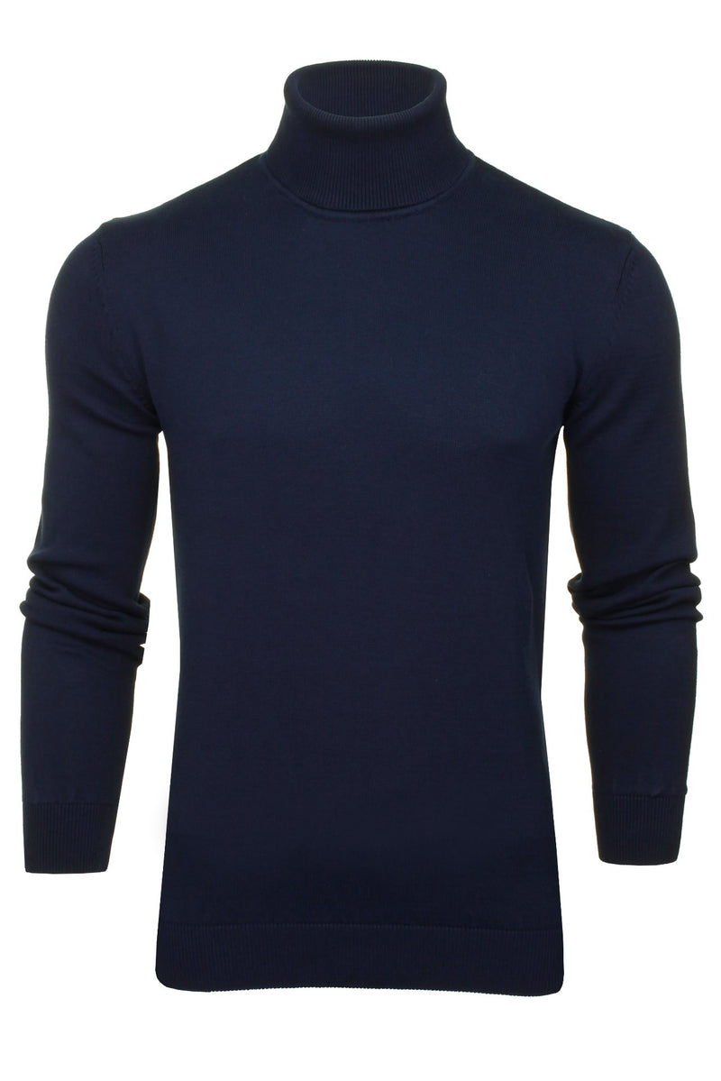 Xact Mens Jumper Roll Neck - polo Neck Jumper Long Sleeved, 01, XK1004, #colour_Navy