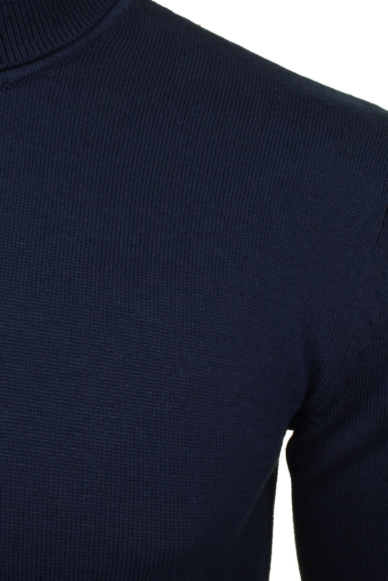 Xact Mens Jumper Roll Neck - polo Neck Jumper Long Sleeved, 02, XK1004, #colour_Navy