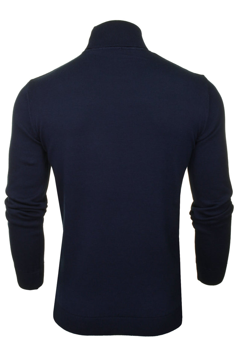 Xact Mens Jumper Roll Neck - polo Neck Jumper Long Sleeved, 03, XK1004, #colour_Navy