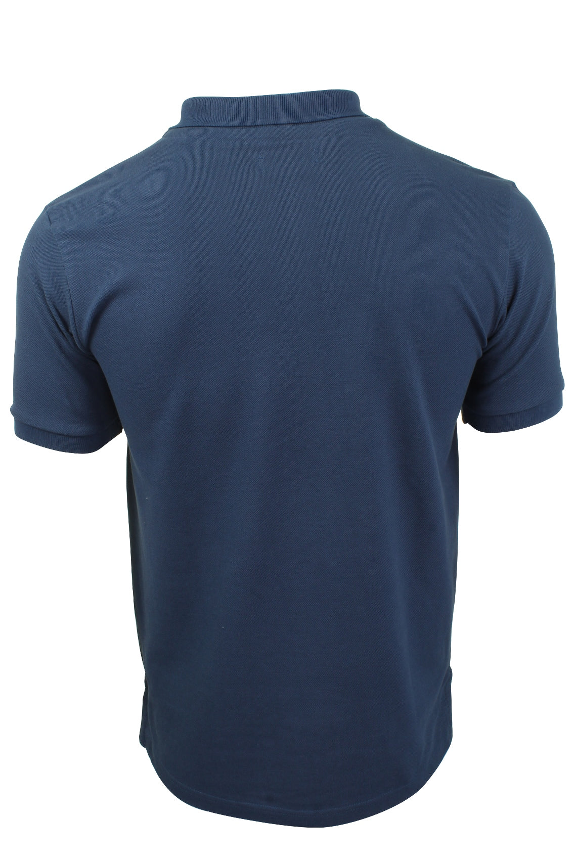 Mens Pique Polo T-Shirt by Xact Short Sleeved Ruched Placket Cotton Rich_03_Xp1002_Denim Blue