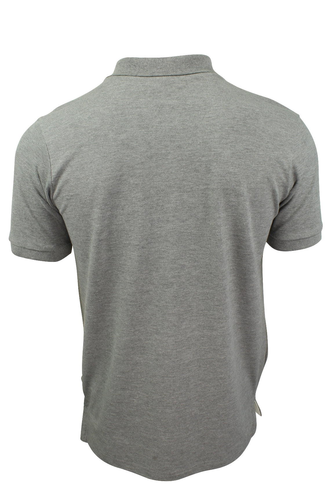 Mens Pique Polo T-Shirt by Xact Short Sleeved Ruched Placket Cotton Rich_03_Xp1002_Marl Grey