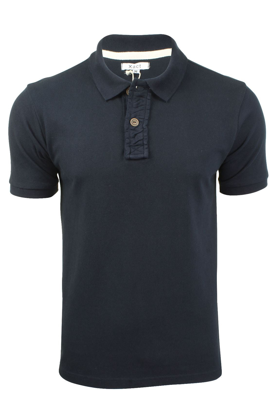 Mens Pique Polo T-Shirt by Xact Short Sleeved Ruched Placket Cotton Rich-Main Image