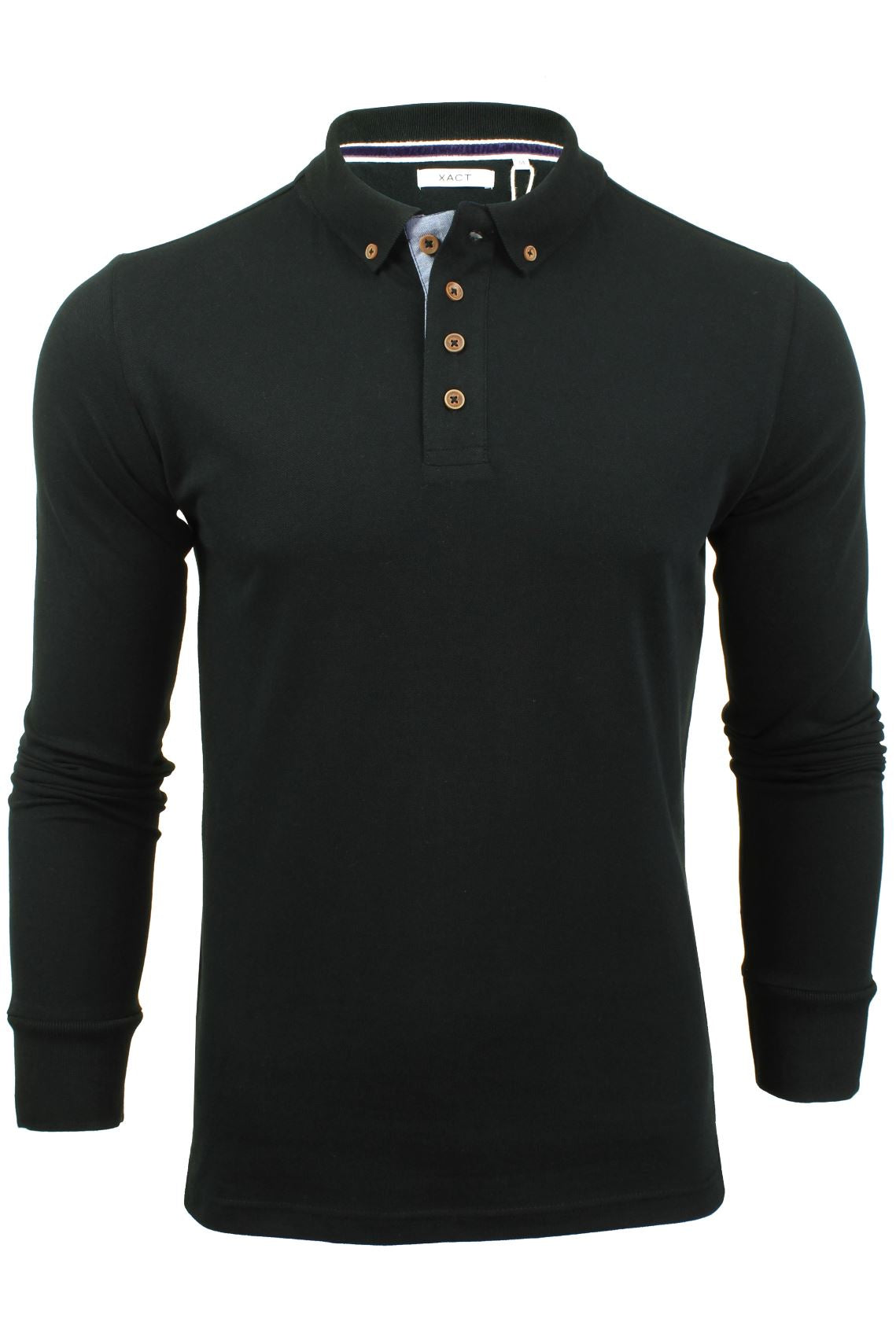 Mens Polo T-Shirt by Xact Pique Long Sleeved_01_XP1003_Black