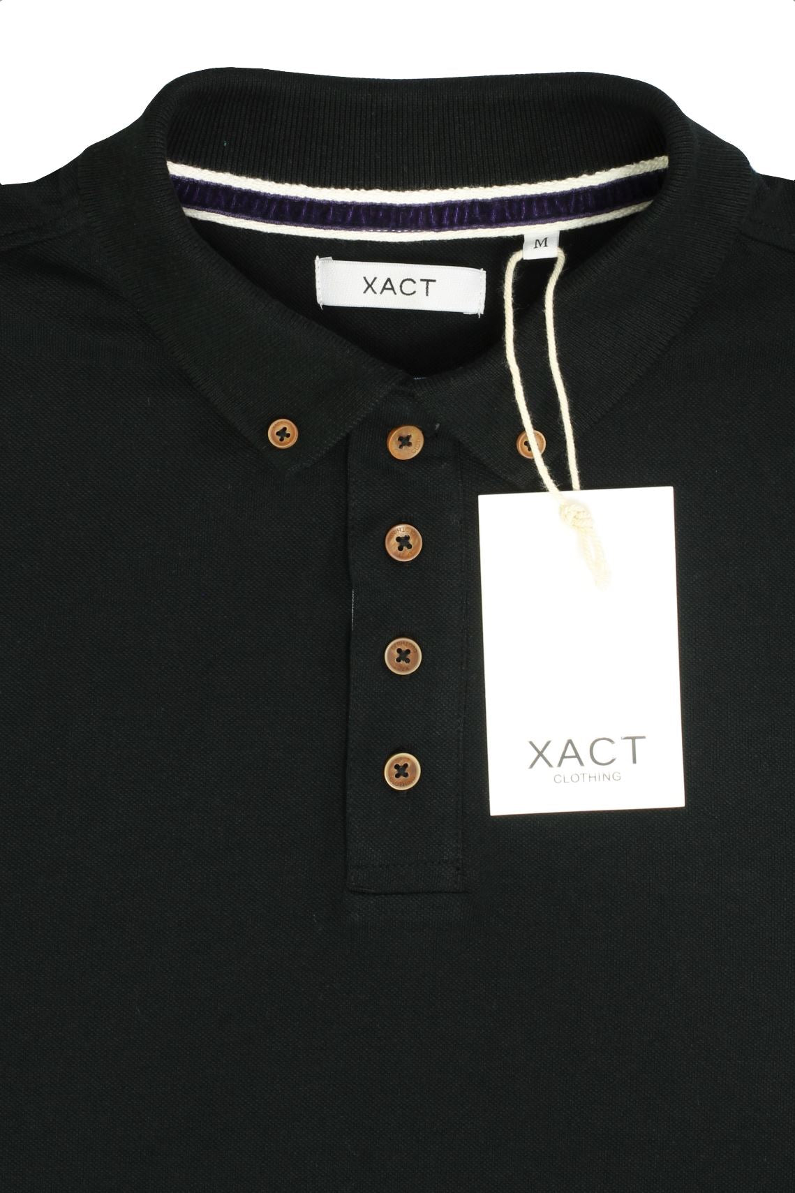 Mens Polo T-Shirt by Xact Pique Long Sleeved_04_XP1003_Black