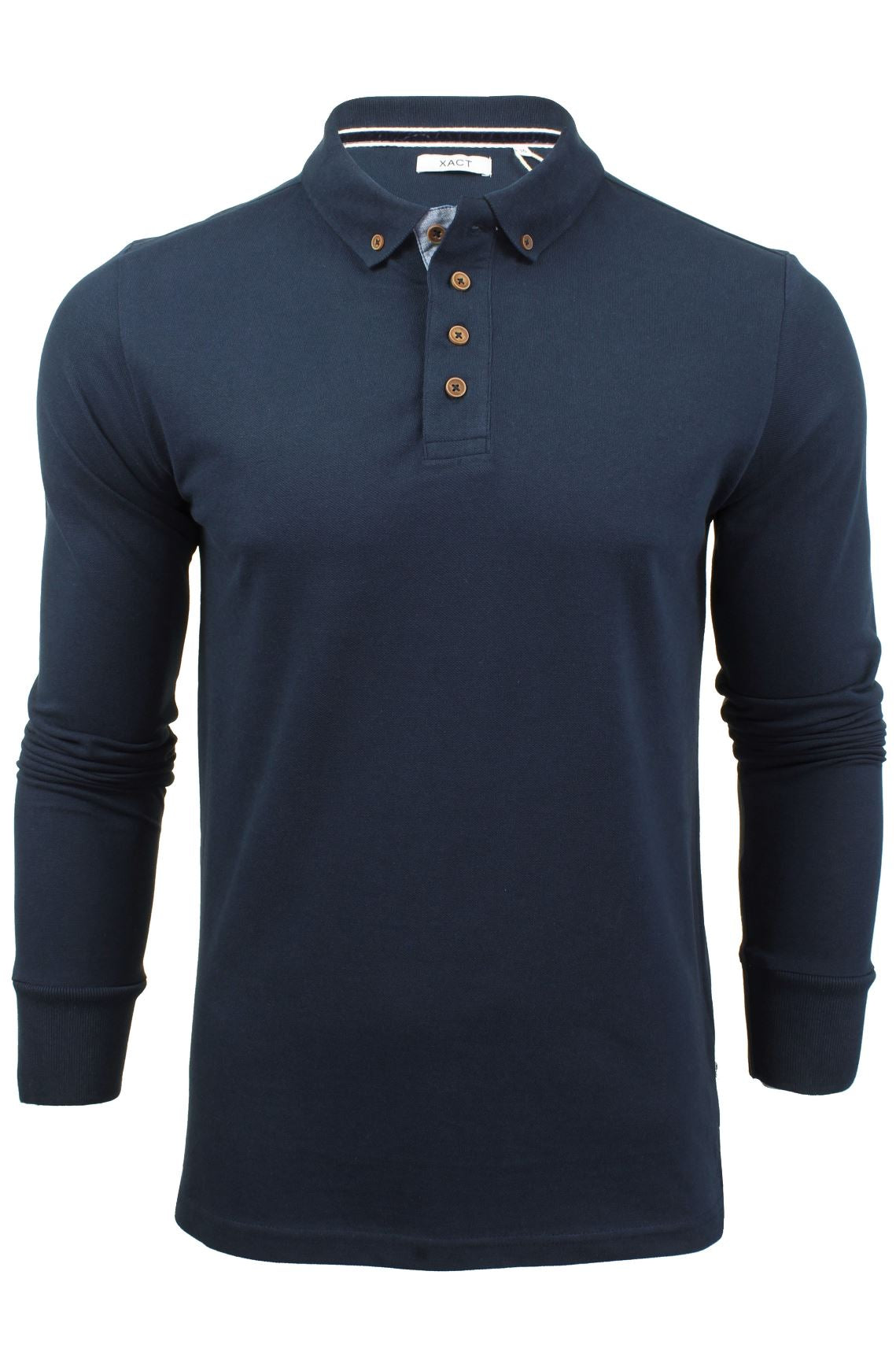 Mens Polo T-Shirt by Xact Pique Long Sleeved_01_XP1003_Ocean Blue