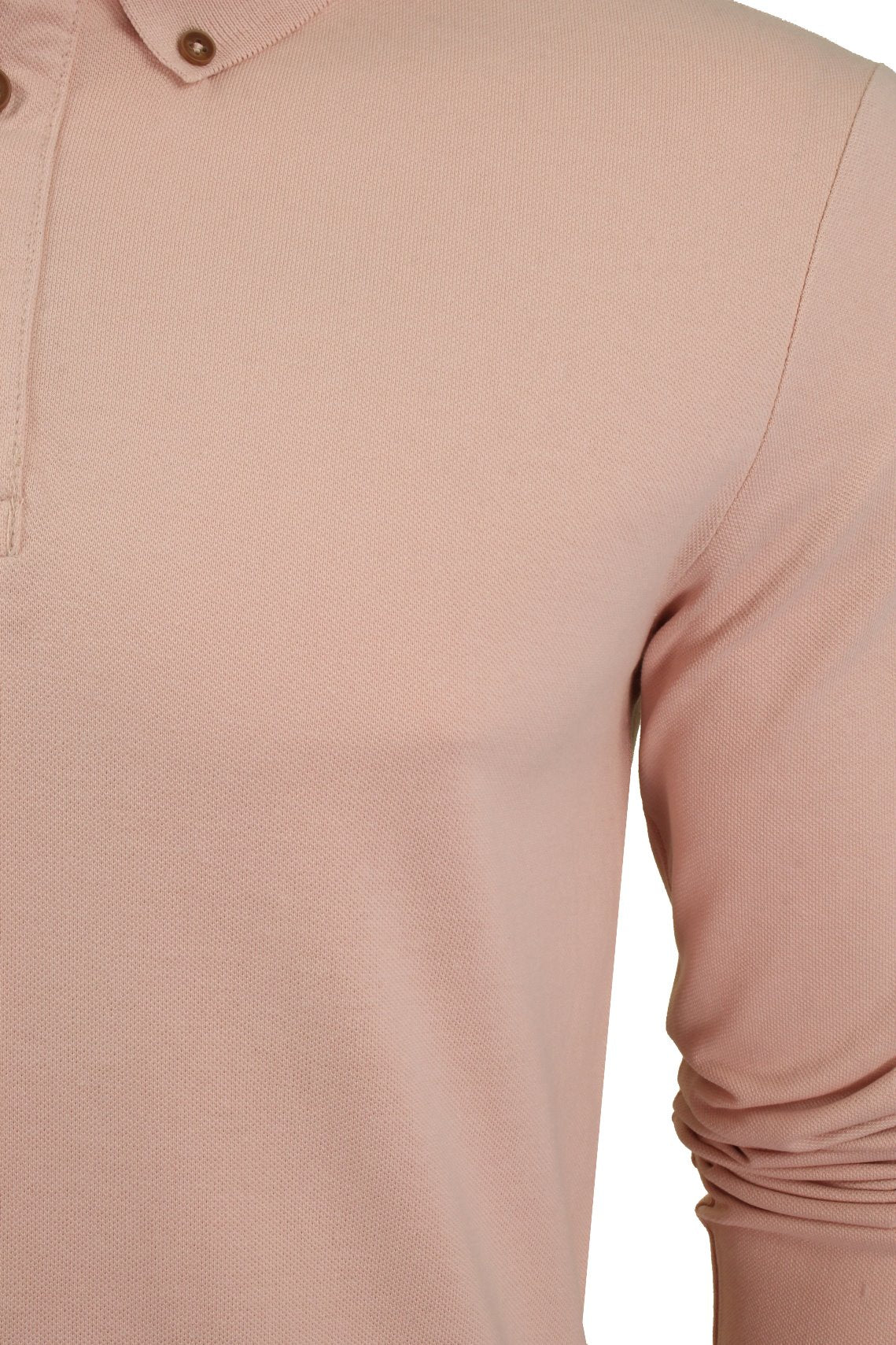Mens Polo T-Shirt by Xact Pique Long Sleeved_02_XP1003_Summer Pink