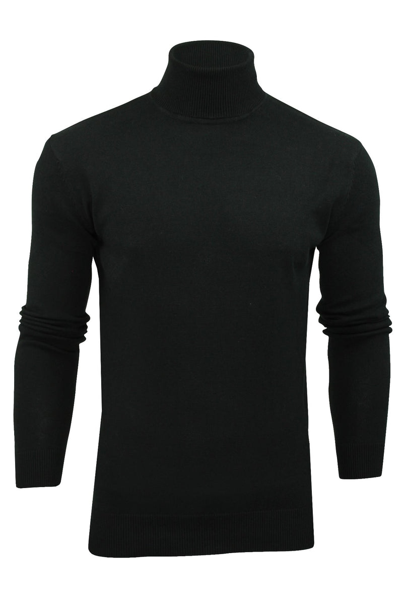 Xact Mens Jumper Roll Neck - polo Neck Jumper Long Sleeved, 01, XK1004, #colour_Black