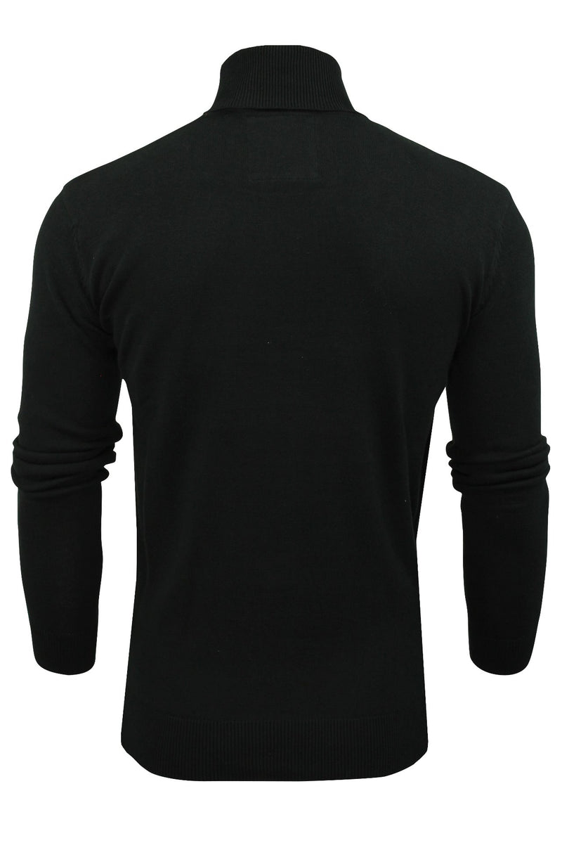 Xact Mens Jumper Roll Neck - polo Neck Jumper Long Sleeved, 02, XK1004, #colour_Black