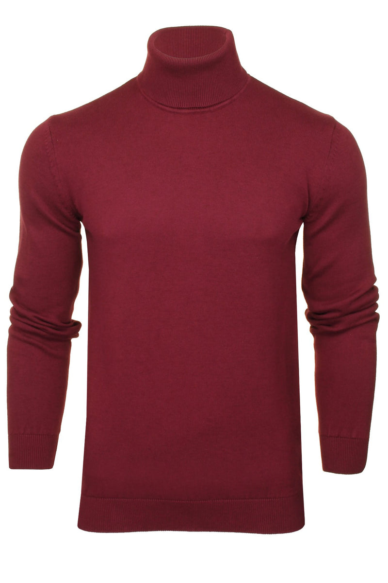 Xact Mens Jumper Roll Neck - polo Neck Jumper Long Sleeved, 01, XK1004, #colour_Burgundy