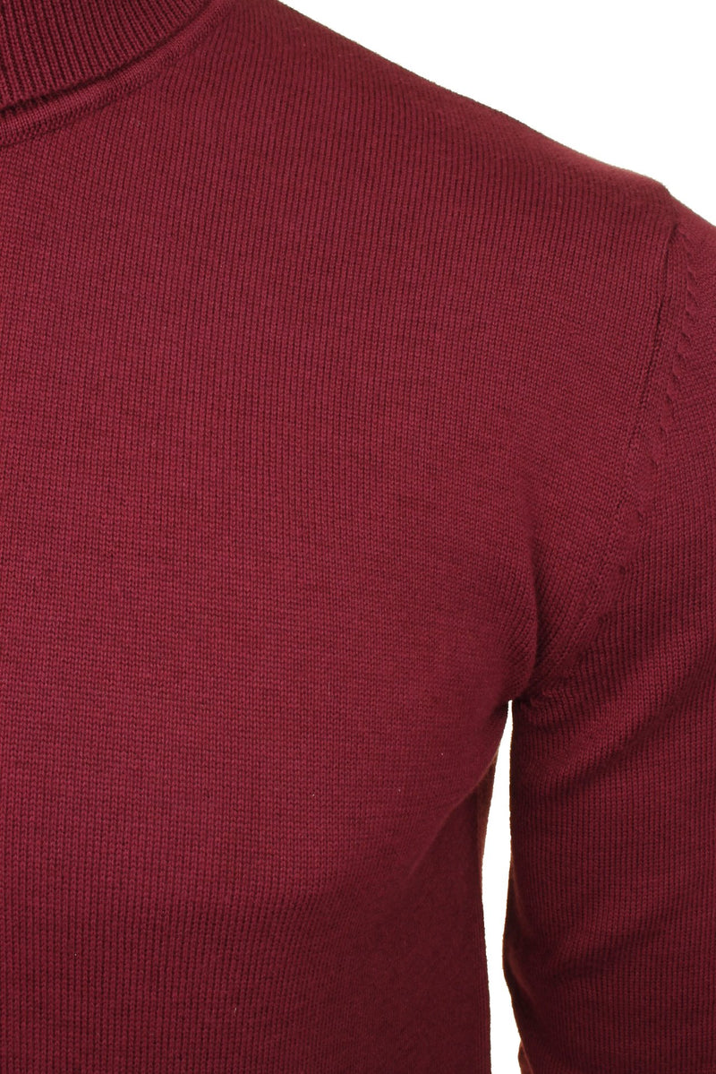 Xact Mens Jumper Roll Neck - polo Neck Jumper Long Sleeved, 02, XK1004, #colour_Burgundy