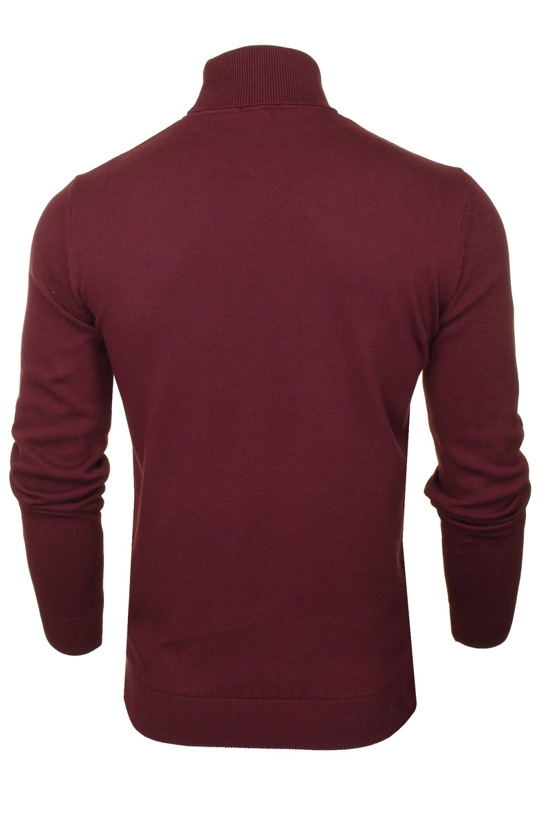 Xact Mens Jumper Roll Neck - polo Neck Jumper Long Sleeved, 03, XK1004, #colour_Burgundy