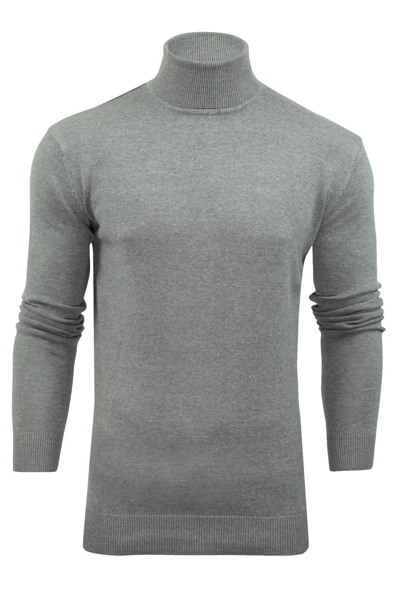 Xact Mens Jumper Roll Neck - polo Neck Jumper Long Sleeved, 01, XK1004, #colour_Heather Grey