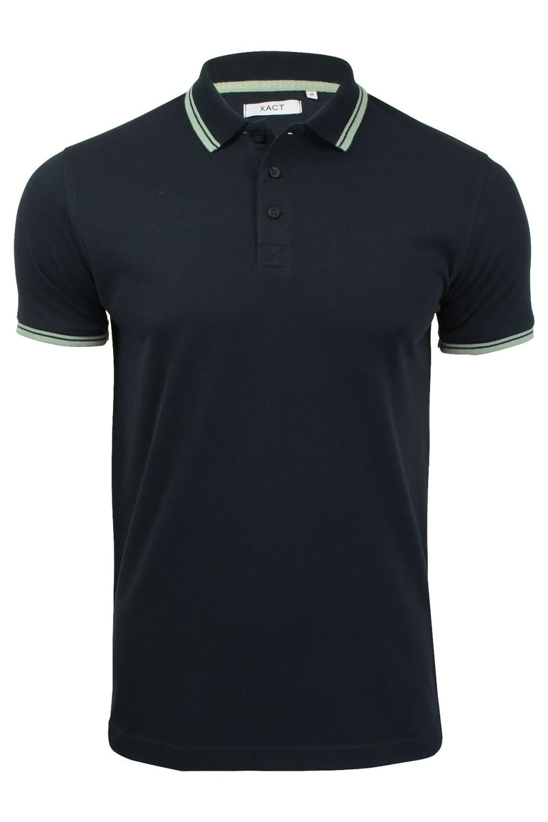 Xact Mens Beach Polo Short Sleeved  With Tipped collar, 01, Xp1024, #colour_Navy