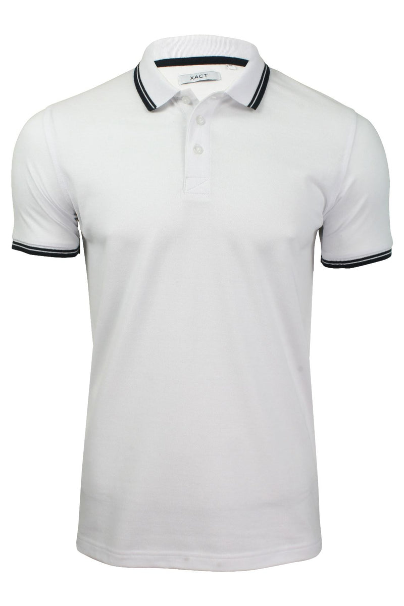 Xact Mens Beach Polo Short Sleeved  With Tipped collar, 01, Xp1024, #colour_Optic White